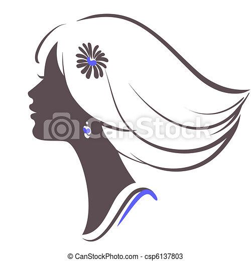 女孩, 臉, 美麗 - csp6137803