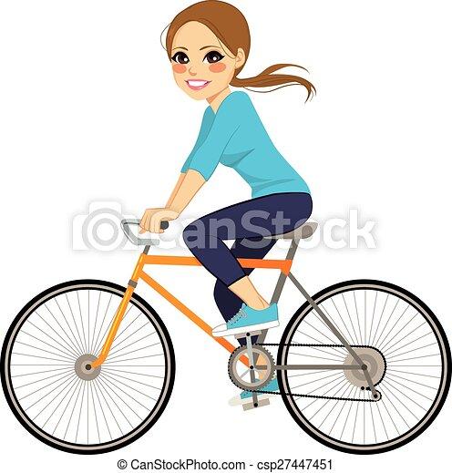 女孩, 自行车 - csp27447451