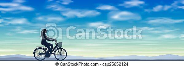 女孩, 自行车 - csp25652124