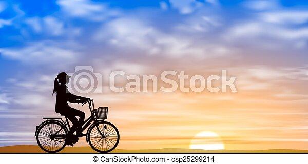女孩, 自行车 - csp25299214