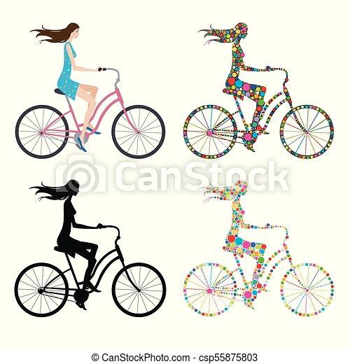 女孩, 自行车 - csp55875803