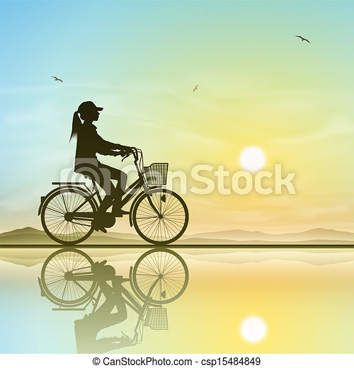 女孩, 自行车 - csp15484849