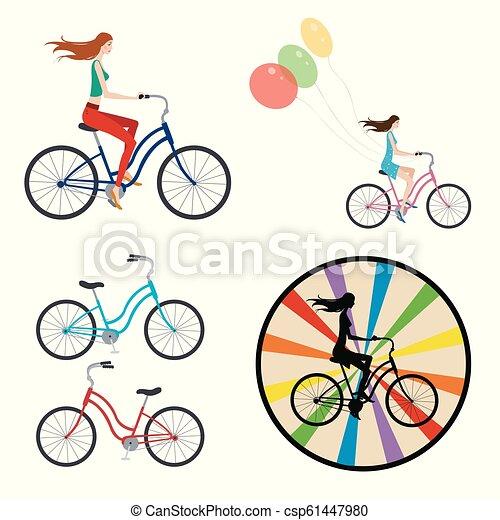女孩, 自行车 - csp61447980