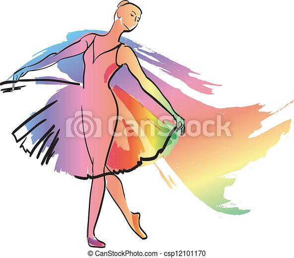 女孩, 跳舞, 芭蕾舞女演員 - csp12101170
