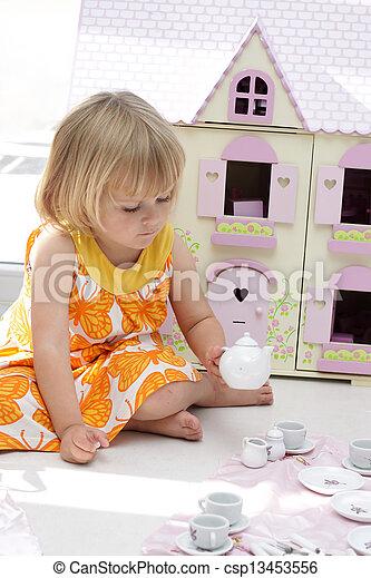 女孩, 集合, 玩, 茶壺 - csp13453556