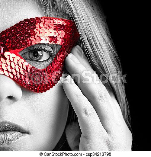 女孩, 面罩 - csp34213798