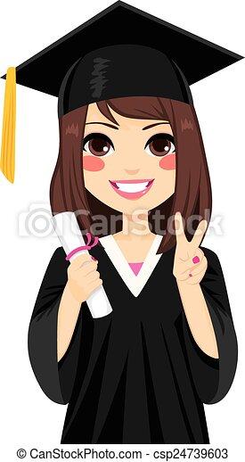 女孩, 黑發淺黑膚色女子, 畢業 - csp24739603
