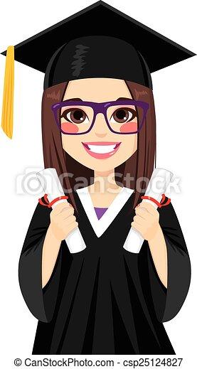 女孩, 黑發淺黑膚色女子, 畢業 - csp25124827