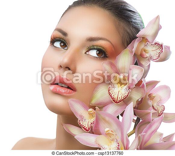 女性の女の子, 美しさ, 顔, flowers., 蘭, 美しい - csp13137760