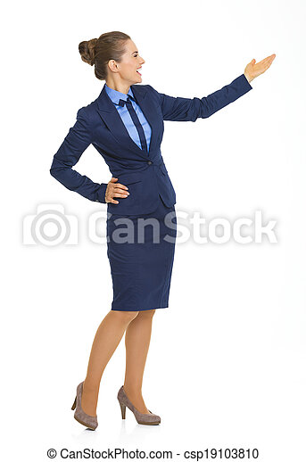女性の指すこと, ビジネス, スペース, 長さ, フルである, 肖像画, コピー, 幸せ - csp19103810