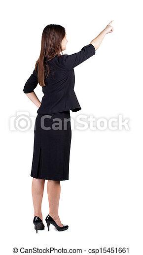 女性の指すこと, ビジネス, 背中, 若い, ブルネット, wall., 光景 - csp15451661