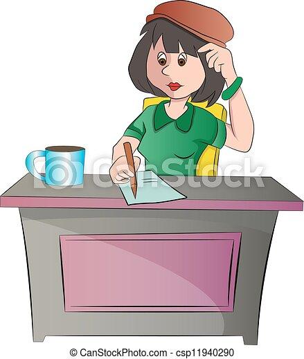 女性の モデル, イラスト, 机, ∥あるいは∥, 秘書 - csp11940290