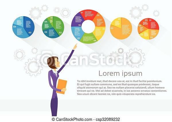 女性ビジネス, 提示, パイ, 図, infographic - csp32089232