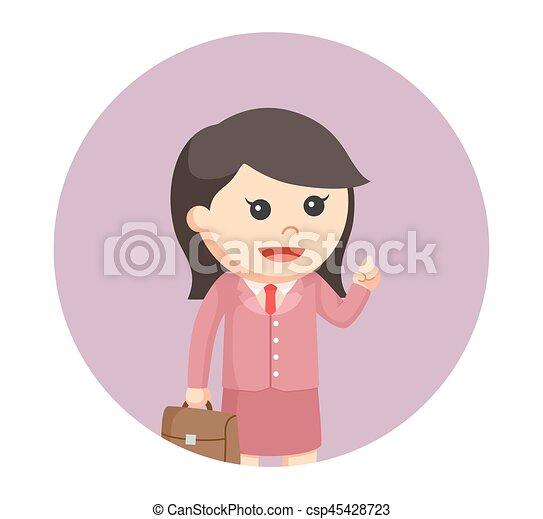女性実業家, わずかしか, 円, 背景 - csp45428723