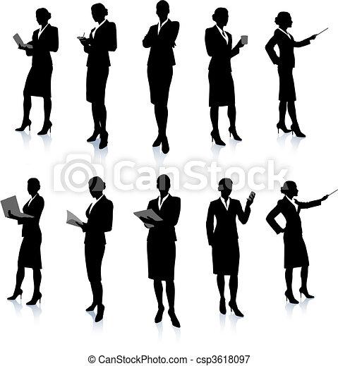 女性実業家, シルエット, コレクション - csp3618097