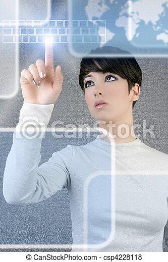 女性実業家, スクリーン, キーボード, 指, ライト, 未来派 - csp4228118