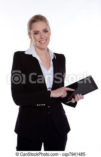 女性実業家, タブレット, 使うこと - csp7941485