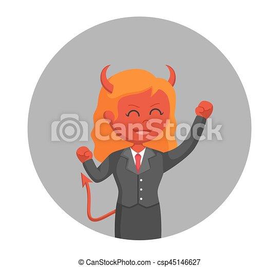 女性実業家, 円, 悪魔, 興奮させられた, 背景 - csp45146627