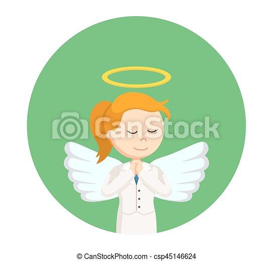 女性実業家, 円, 祈ること, 背景, 天使 - csp45146624