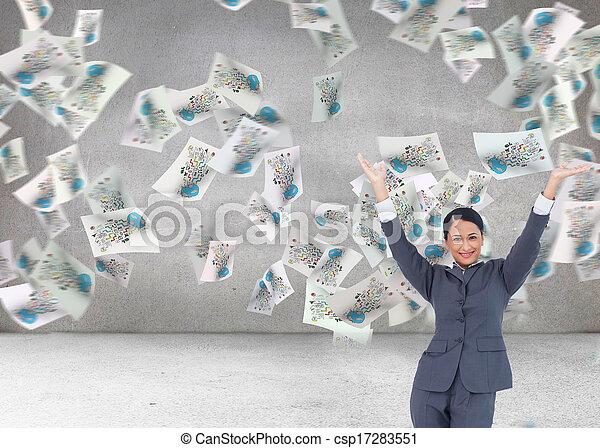 女性実業家, 合成の イメージ, 元気づけること - csp17283551