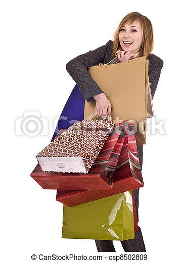 女性実業家, 袋, shopping., グループ - csp8502809