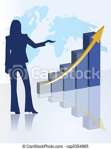 女性, プレゼンテーション, チャート, ビジネス - csp5354965