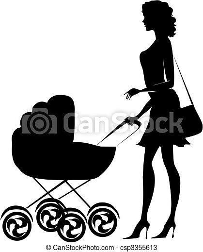 女性, 押す, シルエット, 乳母車 - csp3355613