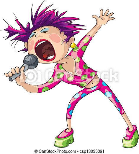 女性, 破裂音の歌手 - csp13035891