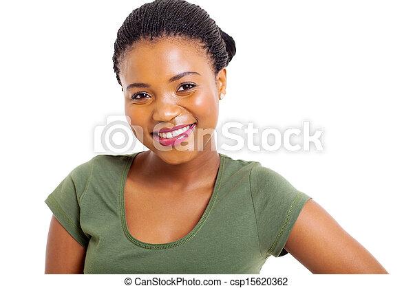 女, の上, 若い, アメリカ人, アフリカ, 終わり, 肖像画 - csp15620362
