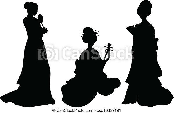 女, アジア人, 芸者 - csp16329191