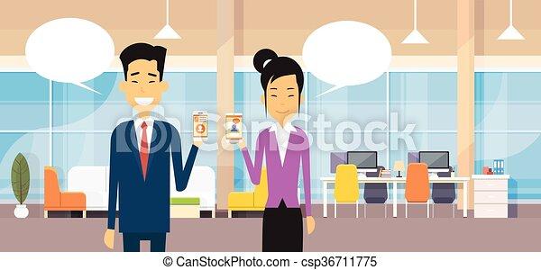 女, オフィス, ビジネス, 現代, 携帯電話, アジア人, チャット, 把握, 泡, 痛みなさい, 人 - csp36711775