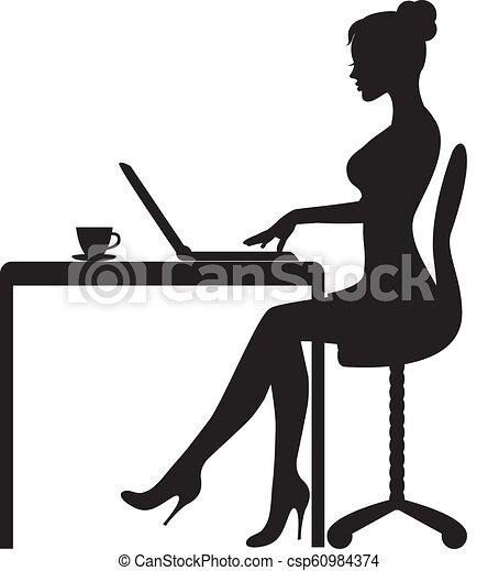 女, コンピュータ, モデル - csp60984374