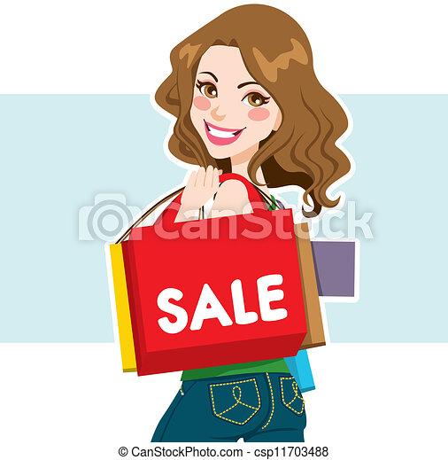 女, セール, 買い物客 - csp11703488