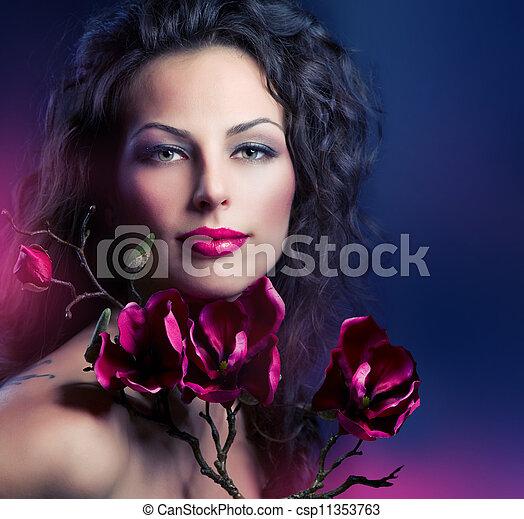 女, ファッション, モクレン, 花, 春 - csp11353763