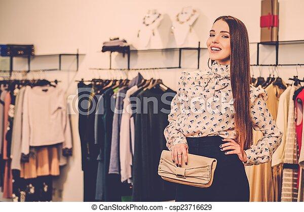 女, ファッション, 若い, ショールーム, 流行 - csp23716629