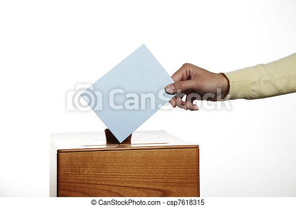 女, ブース, 投票 - csp7618315