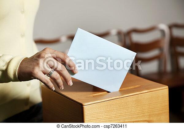 女, ブース, 投票 - csp7263411
