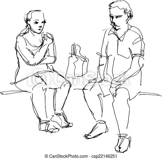 女, ベンチ, 人間が座る - csp22146251