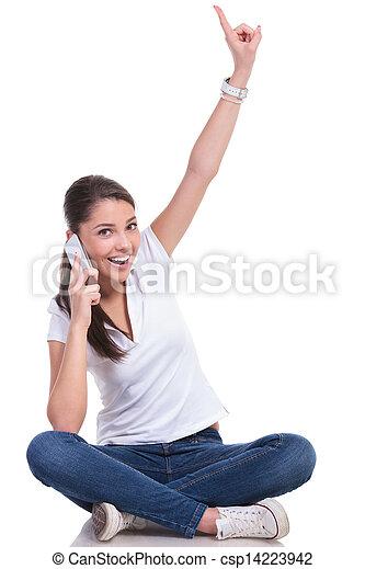 女, &, ポイント, 話, 座る, 偶然 - csp14223942