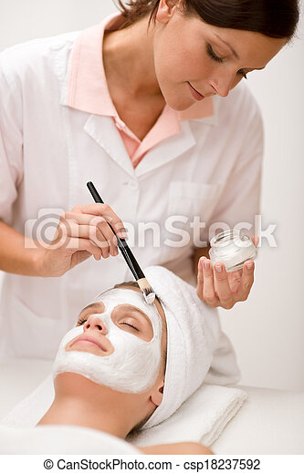 女, マスク, 美容院, -, 美顔術 - csp18237592