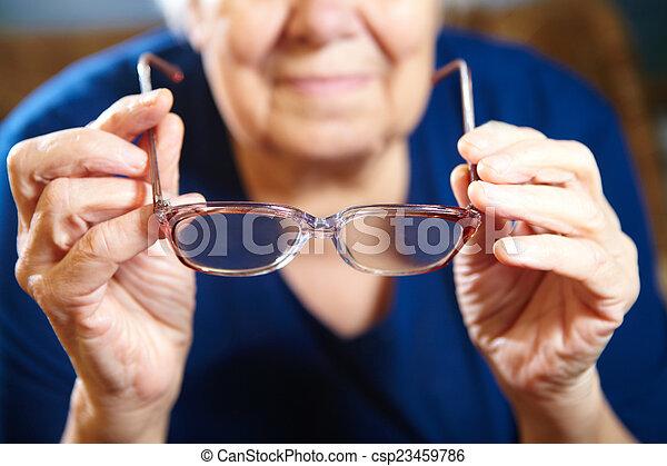 女, メガネ, 古い, 手 - csp23459786