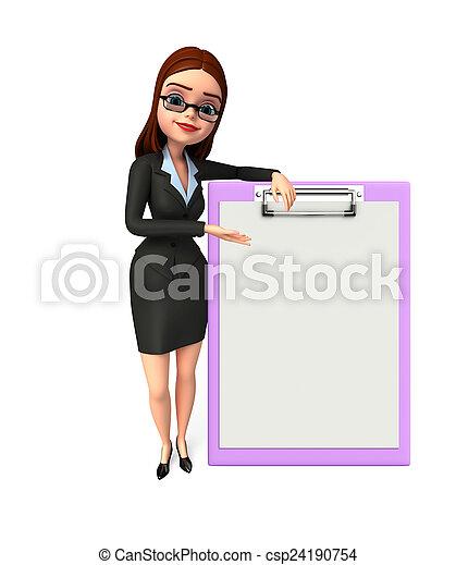 女, メモ用紙, 若い, ビジネス - csp24190754