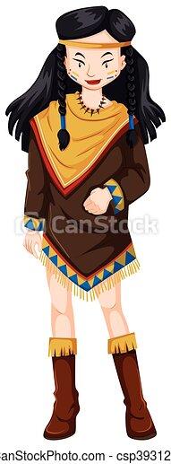 女, 伝統的である, アメリカインディアン, 衣装, ネイティブ - csp39312003