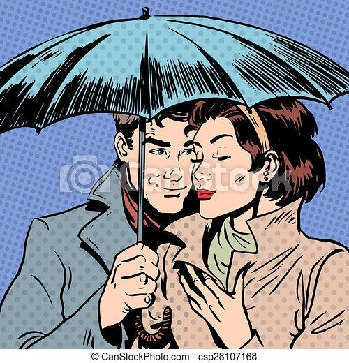 女, 傘, ロマンチック, 関係, courtshi, 雨, 下に, 人 - csp28107168