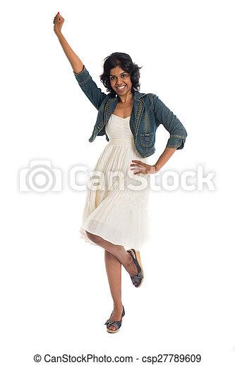 女, 元気づけること, ダンス, 幸せ, 隔離された, 祝う, スタジオ, 白 - csp27789609