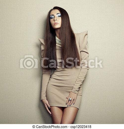 女, 写真, 若い, ファッション, ベージュ, 服, sensual - csp12023418