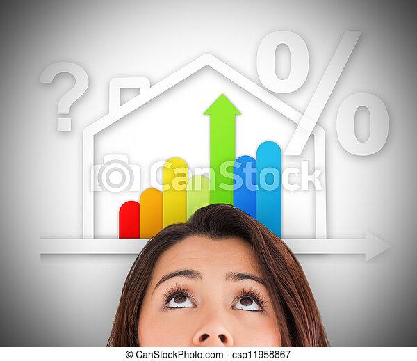 女, 効率的である, 家, エネルギー, の上, 見る, グラフィック - csp11958867