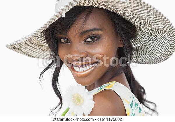 女, 太陽の花, 保有物, 微笑, 帽子, 白 - csp11175802