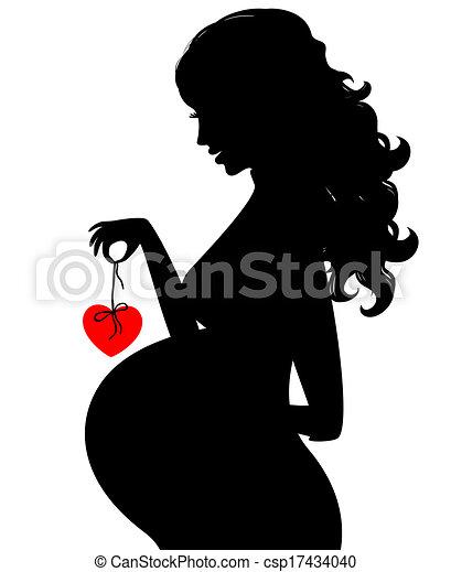 女, 妊娠した, シルエット - csp17434040
