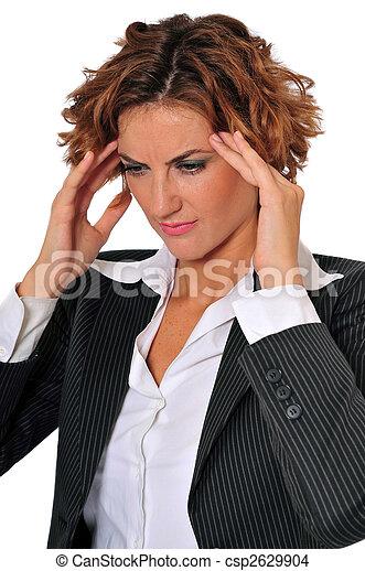 女, 寺院, ビジネス, 彼女, 強調された, マッサージ - csp2629904